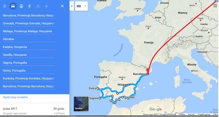 Mapa Wyprawy Hiszpania i Portugalia